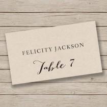 wedding photo - Printable Place Card Template - Escort Card Template - Tent Placecards - Rustic Place Cards - edit in WORD - Print on Kraft - DIY Placecards
