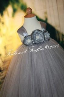 wedding photo - Silver Gray/grey Flower girl Dress with Satin Flowers and Gray Satin Ribbon Shoulder Straps, Weddings, Birthdays 1t,2t,3t,4t,5t, 6, 8, 10