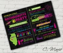 wedding photo - Neon Bachelorette Party Invite - Custom Digital Download