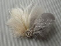 wedding photo - Wedding Bridal Hair Accessories Bride Feather Fascinator, Feather Hair Piece, ivory, grey, feather hair clip gray
