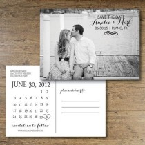 wedding photo - Printable Save The Date Postcard. Calendar Postcard. Calendar Save The Date