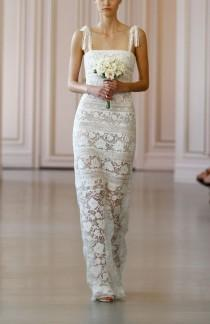wedding photo - Oscar de la Renta 'Ellie' Macramé & Lace Shoulder Tie Column Gown (In Stores Only)