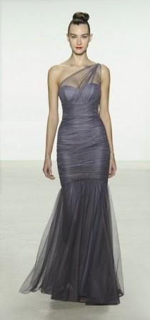 wedding photo - Amsale One-Shoulder Tulle Mermaid Gown
