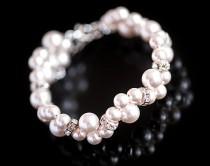 wedding photo - Swarovski Bridal Bracelet, Swarovski Pearls Swarovski Crystal Elements and Silver Ball Cluster Bracelet, Rhinestone Statement bracelet,