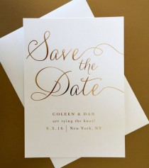 wedding photo - Gold Foil Wedding Save The Date - Modern, Elegant, Classic, And Simple - Calligraphy Script Wedding Save The Date (Paulina Suite)