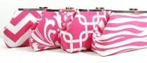 wedding photo - Bridesmaid Clutches Wedding Clutch Accessories Choose Your Fabric Pink Set of 4