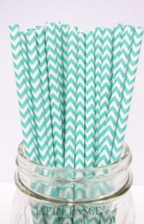 wedding photo - 50 Wedding/party/events Aqua Green Chevron Zig Zag Paper Straws
