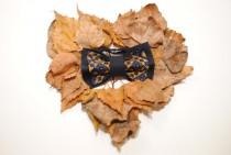 wedding photo - Fall sale Embroidered man's bow tie Blue navy ocher neck tie Groomsmen pre tied bowtie Mustard bowtie Cross-stitch Gift him Fall gift ideas