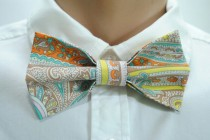 wedding photo - Paisley men's bow tie Wedding bowtie Birthday wishes gift Child tie Style men's accessories Patterned bow ties for men Fantasy bow tie Ties