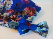 wedding photo - floral bow tie wedding groom cobalt blue blossom pink sakura necktie tie bride dress bowtie gift for him mens bowties fathetfluere bleu пю18