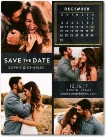 wedding photo - Ornate Calendar - Save The Date Postcards In Black Or Almond