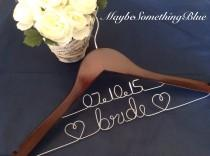 wedding photo - GRAND OPENING SALE/ Personalized Custom Wedding Hanger / Brides hanger / cherry finish / wire hanger/ personalized / bridal party