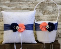 wedding photo - Your Color ,Navy Blue And Coral Pink Ring Bearer Pillow , Flower Girl Basket , Flower Girl Basket And Ring Bearer Pillow Set