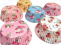 wedding photo - FLORAL Cupcake Liners 60 Prettiest Rose Cherry Raspberry Spring Flower GARDEN Tea Party