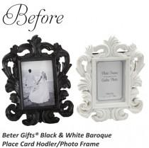 wedding photo - Beter Gifts® Wedding Reception SZ041/A White Baroque Photo Place Card Holder