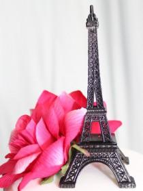 "wedding photo - 6"" Black Paris Eiffel Tower Cake Topper"