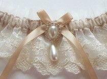 wedding photo - Lace Garter, Wedding Garter In Ivory Lace On Champagne Band With Pearl And Crystal Detail - The MEREDITH Garter