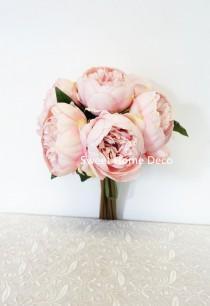 wedding photo - JennysFloweShop 11'' Silk Peony Artificial Flower Bouquet Wedding/Home Decorations (10 Stems/7 Flower Heads) Pink