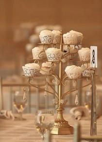wedding photo - GOLD CUPCAKE CANDELABRA Centerpiece Stand Crystal Gold Distressed Cake Dessert Vintage Styler Wedding Tea Shabby Chic Rustic Gatsby Parisian