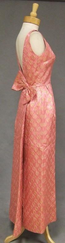 wedding photo - FANTASTIC Pink & Gold 1960's Evening Gown W/ Low Back