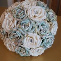 wedding photo - Vintage Map Travel Theme wedding Paper Origami Flower Bouquet jute hessian stationary world UK pearl alternative to silk foam button ribbon