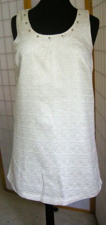 wedding photo - Impeccable Pig Cream Gold Shift Dress Ivory Studs Woman's NWT Shimmer