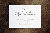 wedding photo - PRINTABLE Save The Date PDF - Personalised Simple Calligraphy Heart Wedding Save The Date - DIY Digital Download Only