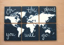 wedding photo - World Map Canvas . Oh The Places You Will Go . 6 - 12x12's . Custom Colors . Hand Painted . Original . Dark Charcoal Gray Grey, Orange, Blue
