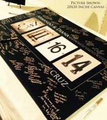 wedding photo - Personalized Wedding Alphabet Art Guest Book  By Alphabetcanvas