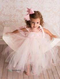 wedding photo - Blush Flower Girl Dress, Bridesmaid Dress, Pink and Ivory tutu dress, Christening gown, Tulle Flower Girl dress, Occasion dresses, wedding