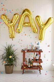 wedding photo - Gold Letter Party Balloon
