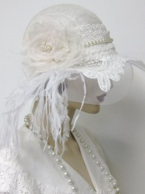 wedding photo - 1920's Flapper Wedding Cloche/Reserved For Laura