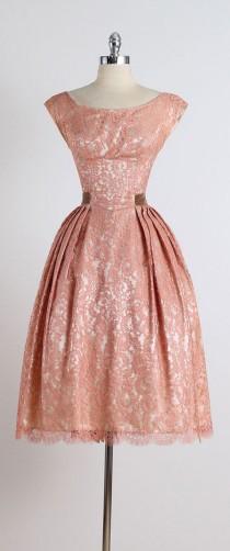 wedding photo - R E S E R V E D /// Gilded Affair . Vintage 1950s Dress . Vintage Lace Dress . 5065