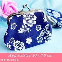 wedding photo - Beter Gifts® Cherry Blossom White And Cobalt Blue Coin Purse