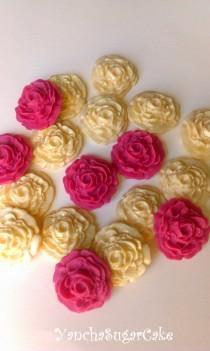 wedding photo - Fondant edible sugar mini roses set 24 Gold and Burgundy Gumpaste flowers Wedding Bridal shower Cupcake topper Cake Baby shower Christening