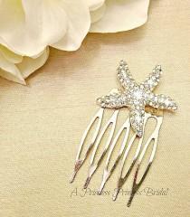wedding photo - Bridal Starfish Hair Comb - Starfish Hair Accessories - Nautical Hair Comb - Star Fish Hair Accessories - Starfish Hair Pin - Beach Wedding