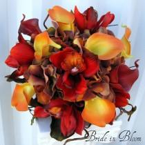 wedding photo - Autumn wedding bouquet Bridal bouquet real touch orchids calla lilies orange brown red fall silk wedding flowers