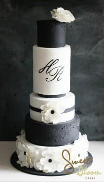 wedding photo - Black N White Wedding Cake For Ruby's... - Sweet Bloom Cakes
