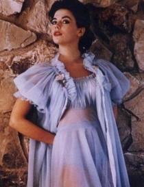 wedding photo - TOSCA Vintage RAINBOW Nightgown Robe Peignoir SET Chiffon Gown Sissy Lingerie M