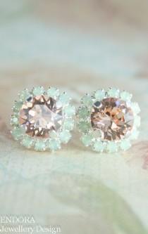 wedding photo - Bridesmaid Earrings,bridal Earrings,swarovski Earrings,peach And Mint Earrings,peach And Mint Wedding,mint And Peach Wedding,peach Jewelry