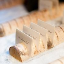 wedding photo - Birch Log Escort Card Display
