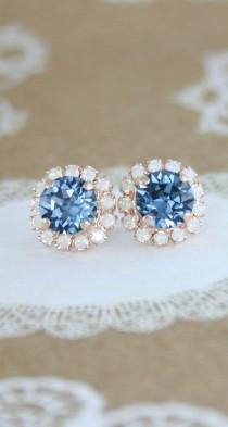 wedding photo - Blue Crystal Earrings,Swarovski Denim Blue White Opal Rose Gold Halo Stud Earrings,halo Earrings,bridal Earrings,something Blue,opal Earring