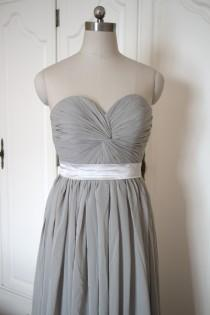 wedding photo - Gray Chiffon Bridesmaid Dress Long Grey Sweetheart Bridesmaid Dress - Custom Dress