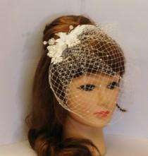 wedding photo - Birdcage veil with top  comb,  Blusher veil, French net Russian Net Veil.Wedding, Bridal comb pearls Crystal bridal clip