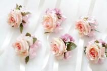 wedding photo - Pink Rose Corsage, pale pink hydrangea boutonnieres / Wrist corsage Wrapped In Satin Ribbon Rustic Romantic Elegant bridesmaid