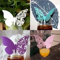 wedding photo - 50PCS Butterfly Place Escort Wine Glass Cup Paper Wedding Name Card
