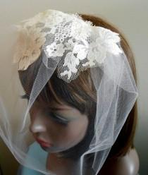 wedding photo - Tulle Birdcage Veil with Vintage Lace Overlay Ivory Ready To Ship