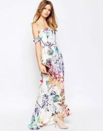 wedding photo - ASOS WEDDING Bardot Fishtail Maxi In Floral Print