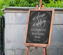 wedding photo - Wedding Welcome Sign Template, Instant Download, Editable PDF Template, Rustic Chalkboard Welcome Signage, Printable File, 18x24, 24x36