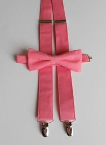 wedding photo - Coral Bowtie and Suspenders Set- Men's, Youth 2 weeks before shipping